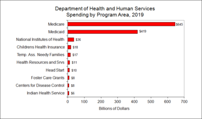 Department of Health and Human Services Spending by Program Area